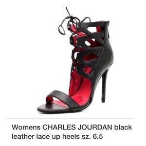 Charles Jourdan black lace heels